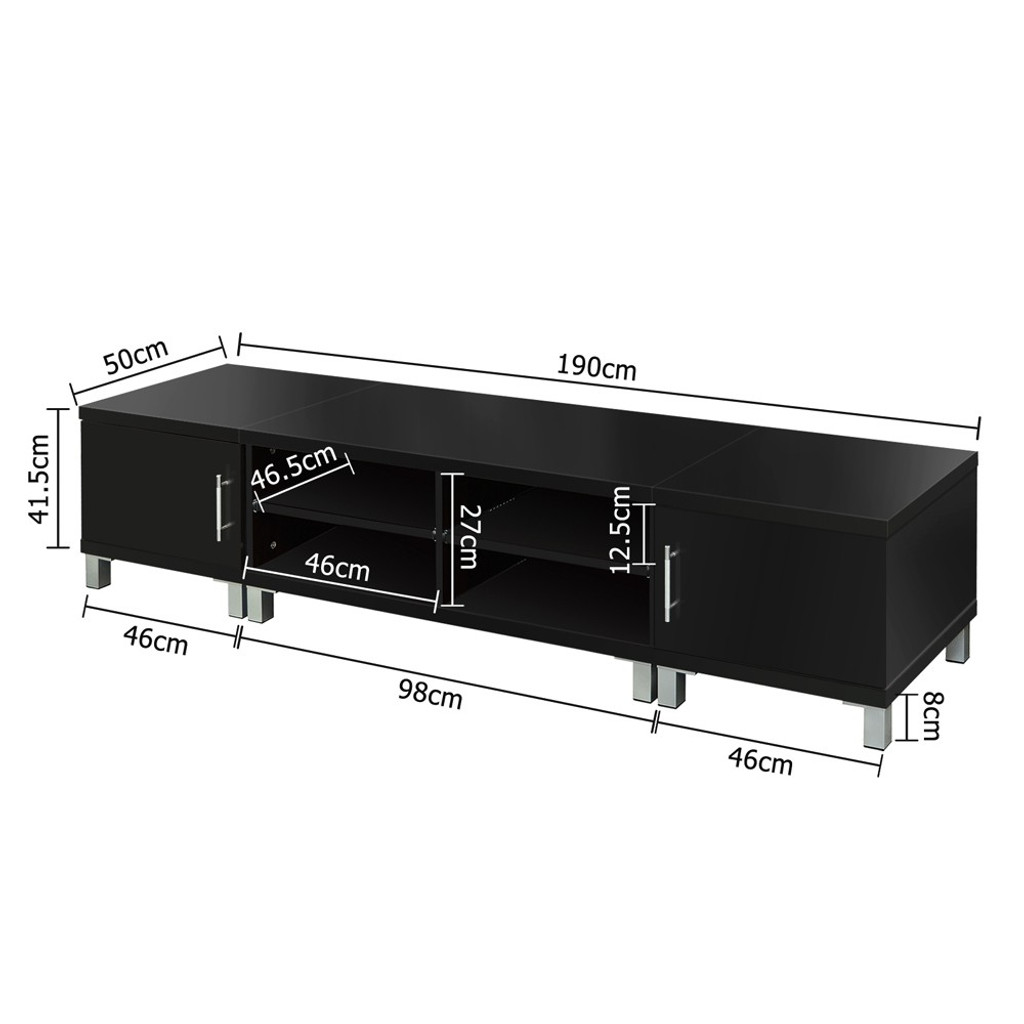 LENNY LOWLINE  ENTERTAINMENT UNIT WITH 2 INDEPENDENT SIDE CABINETS -  1900(W) - BLACK
