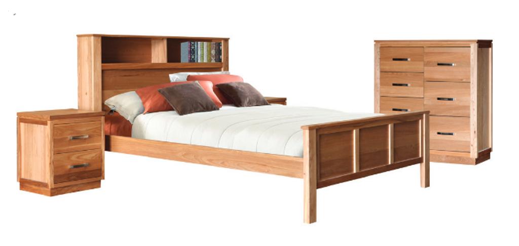 TREASURE QUEEN 4  PIECE TALLBOY  BEDROOM SUITE WITH BOOKCASE  BED  (20-1-18-1) - LIGHT OAK
