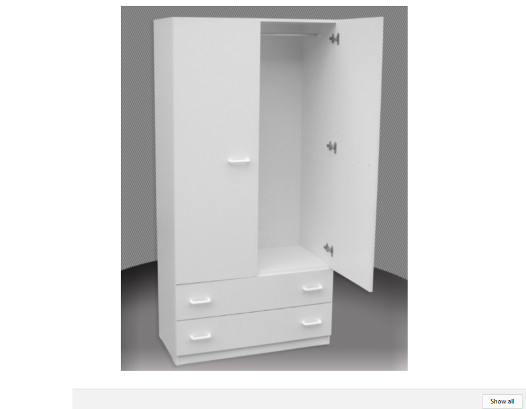 SUPERIOR FINISH 2FT ADULTS WARDROBE (CW24D-D) 2 DOOR / 2 DRAWER WITH METAL RUNNERS -  1800(H) X 600(W) -   ASSORTED COLOURS AVAILABLE