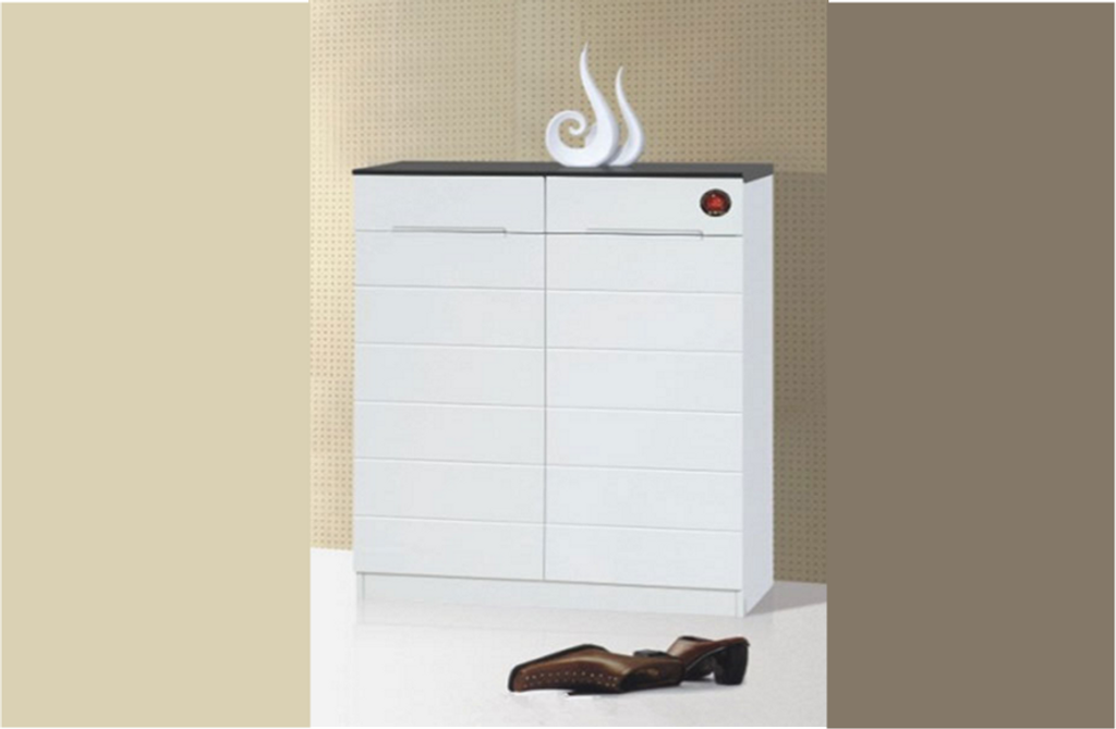 GX946 SHOE CABINET WITH 2 DOORS 1010(H) x 800(W) - GLOSS BLACK AND WHITE