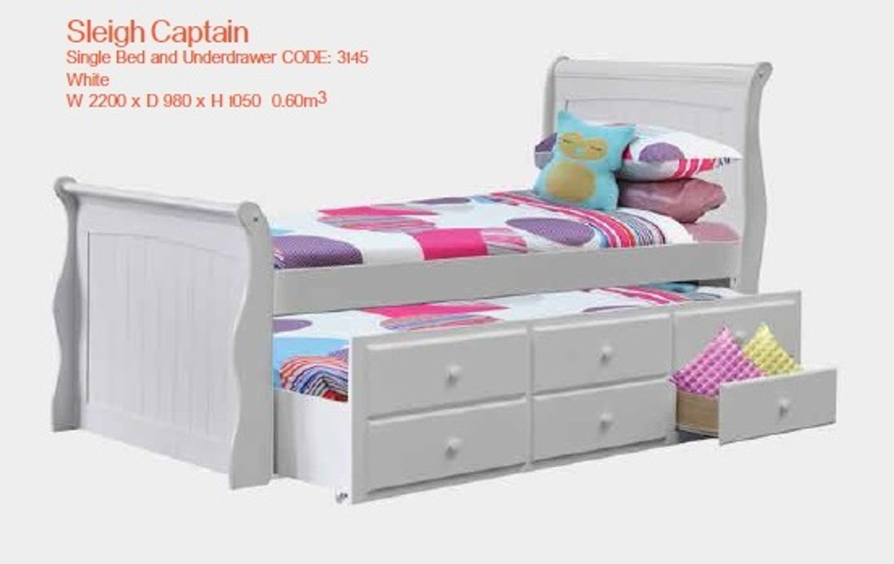 SINGLE SLEIGH CAPTAINS BED WITH UNDERBED STORAGE TRUNDLE