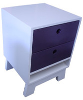 ART DECO BEDSIDE WITH 2 DRAWERS - PRICED IN ASSORTED COLOURS (VIC ASH AND PINE OPTIONS ALSO AVAILABLE - PRICE ON APPLICATION) - CUSTOMISATION AVAILABLE