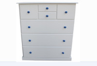 FEDERATION 7 DRAWER SPLIT TALLBOY WITH STANDARD WOODEN KNOBS 1200(H) x 1000(W) (NOT AS PICTURED) - PRICED IN ASSORTED COLOURS (VIC ASH AND PINE OPTIONS ALSO AVAILABLE - PRICE ON APPLICATION) - CUSTOMISATION AVAILAVBLE