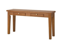 CAMERON (HTTL1350) HALL TABLE WITH TAPERED LEGS AND 2 DRAWERS - 760(H) X 1350(W) X 380(D) - TASSIE OAK - ASSORTED COLOURS