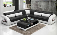 DANLILY (G8016B) CORNER  LOUNGE  + COFFEE TABLE - CHOICE OF LEATHER AND ASSORTED COLOURS AVAILABLE