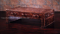 PRAGO  GENUINE LEATHER VINTAGE COFFEE TABLE WITH 3 DRAWERS - 450(H) X 1500(W) X 890(D)-  ASSORTED COLOUR