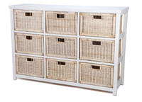 RATTAN STORAGE WITH 9 DRAWERS (RDB789) - ANTIQUE /NATURAL
