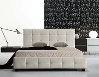 QUEEN PALERMOR  LEATHERETTE  TUFTED   BED FRAME   (ING-QBGC-WHITE)  - WHITE
