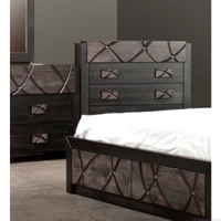CHALET QUEEN  5 PIECE DRESSER TONE  BEDROOM SUITE (1-18-7-12-5) - SAPPHIRE DECORATED WITH SWAROVSKI CRYSTAL