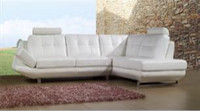 ENORA (F2070) 3 SEATER LEATHER/ETTE COMBINATION CHAISE LOUNGE - ASSORTED COLOURS