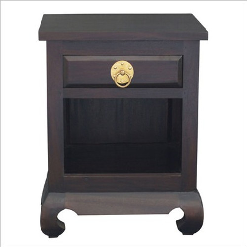 1 DRAWER SHANGHAI BEDSIDE WITH RING HANDLE (BS 001 OL RH) - MAHOGANY OR CHOCOLATE