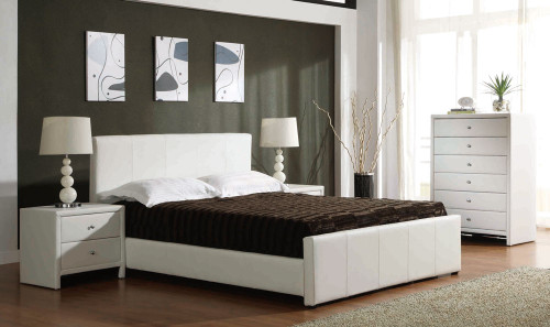 QUEEN VICTOR BED (BE-513) - LEATHERETTE BED WITH GAS LIFT UNDERBED STORAGE - BLACK OR WHITE