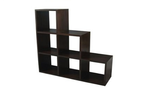 6 STAIRS CUBE SHELF (CU-006-RPN) -  1320(W) X 400(D) - MAHOGANY OR CHOCOLATE