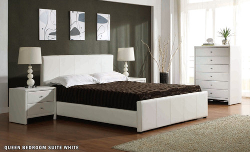 VICTOR  DOUBLE OR QUEEN 4 PIECE TALLBOY BEDROOM SUITE (BE-502(3)) - WHITE OR BLACK