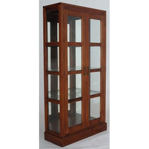 PARIS  MIRROR BACK DISPLAY CABINET( DC-200-MR- PNMK)  - MAHOGANY OR CHOCOLATE - (MODEL 16-1-18-9-19)