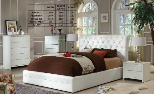 DIAMENTI DOUBLE OR QUEEN 3 PIECE BEDSIDE BEDROOM SUITE (BE-519) - LEATHERETTE - BLACK OR IVORY