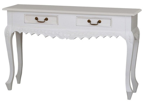 WILLY 2 DRAWER CARVED SOFA TABLE (ST002 CV) - 1200(W) X 350(D) X 760(H) - WHITE