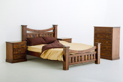 ROYAL (205) QUEEN 3 PIECE BEDSIDE BEDROOM SUITE - NATURAL STAIN