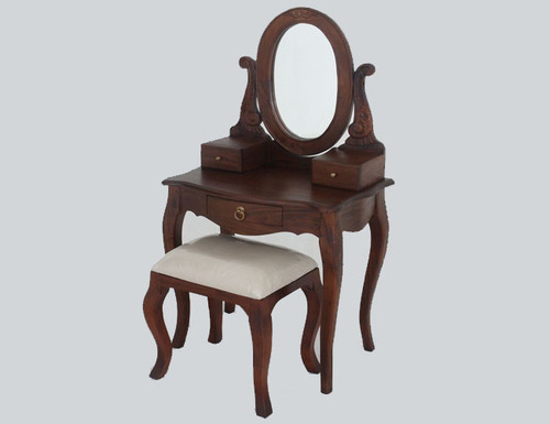 QUEEN ANNA 3 DRAWER SMALL DRESSING TABLE & STOOL - 1370(H) X 700(W) -MAHOGANY OR CHOCOLATE