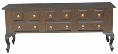 QUEEN ANNA 9 DRAWER SOFA TABLE - MAHOGANY OR CHOCOLATE - (MODEL 17-21-5-5-14-1-14-14) 760(H) X 1800(W) X 400(D)