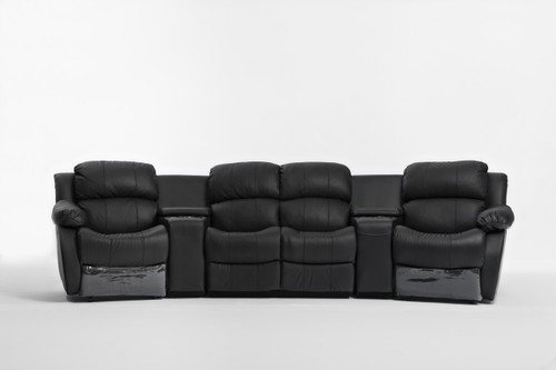 NIKKI 4 SEATER LEATHER/ETTE HOME THEATRE ENTERTAINMENT LOUNGE SUITE WITH 2 RECLINERS