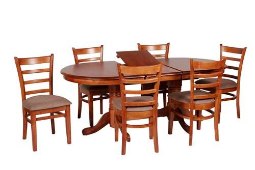 JAGUAR 7 PIECE EXTENSION DINING SETTING (JAG PD 15 19 7PA) WITH 165MM PEDESTAL BASES - 1500-1900(L) x 990(W) - ANTIQUE OAK / MOCHA SEAT