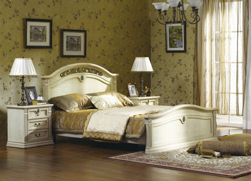 CASINO (BE-313) KING 4 PIECE BEDROOM SUITE - LIME WASH WHITE