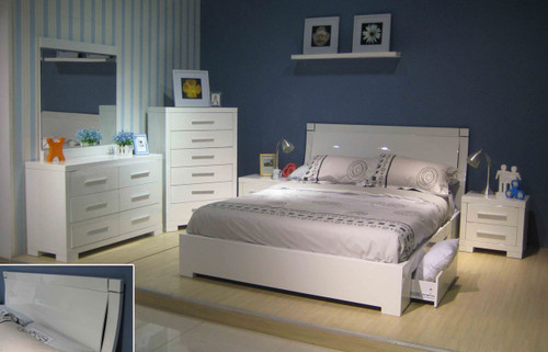 PRIMA KING 5 PIECE BEDROOM SUITE WITH UNDERBED STORAGE DRAWERS (BE-963)  - HIGH GLOSS WHITE