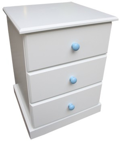 FEDERATION 3 DRAWER BEDSIDE WITH STANDARD WOODEN KNOBS (NOT AS PICTURED) - PRICED IN ASSORTED COLOURS (VIC ASH AND PINE OPTIONS ALSO AVAILABLE - PRICE ON APPLICATION) - CUSTOMISATION AVAILABLE