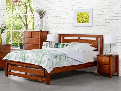 TANA DOUBLE OR QUEEN 3 PIECE BEDSIDE BEDROOM SUITE - WALNUT