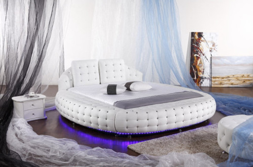 QUEEN REGGIO (6821#) ROUND LEATHERETTE BED - ASSORTED COLOURS AVAILABLE