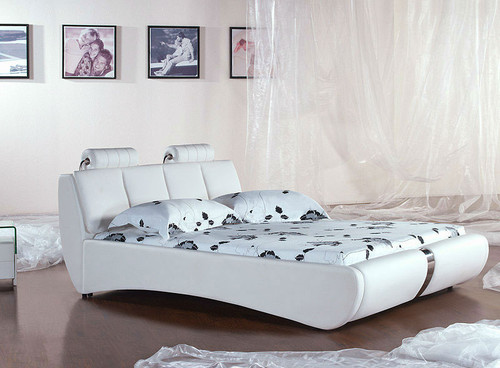 QUEEN (2818#) LEATHERETTE BED - ASSORTED COLOURS AVAILABLE
