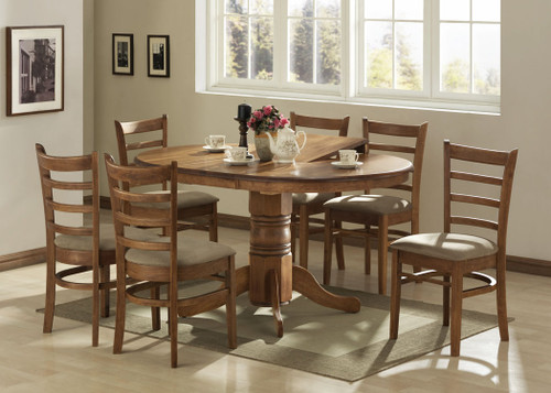 LANNICE 5 PIECE EXTENSION DINING SETTING (NOT AS PICTURED) - OPENS TO 1500(L) (MODEL 13-21-19-20-1-14-7) - ANTIQUE OAK