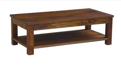 BRONTE (WONMR-047) COFFEE TABLE WITH SHELF -  400(H) X 1200(W) X 600(D) - LIGHT HONEY