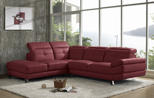 MILAN (V-1124-L) 3 SEATER LEATHER LOUNGE WITH LEFT CORNER -  RED