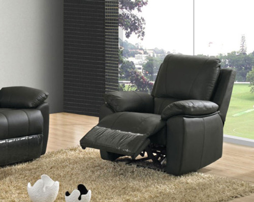 JEMMA (V-1122-1) SINGLE  LEATHER RECLINER (1R) - BLACK OR BROWN