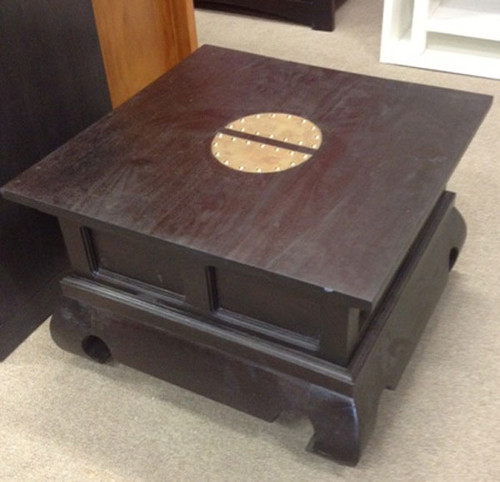CHINESE LAMP TABLE (LT 60 60 CSN) - CHOCOLATE