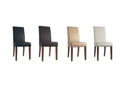 TORONTO (VCH-104) TOP GRAIN LEATHER DINING CHAIR WITH DARK LEGS (DARKER THAN PICTURED) - BROWN, BLACK, WHITE OR PEBBLE