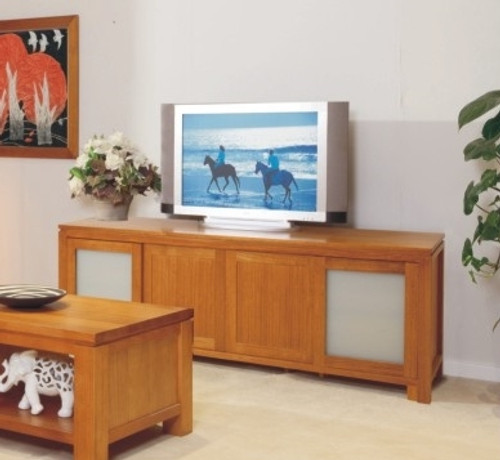 SUNNY LOWLINE TV UNIT WITH 4 SLIDING DOORS, SAFETY GLASS AND 4 DRAWERS BEHIND DOORS - 2000(W) - CHOICE OF COLOURS