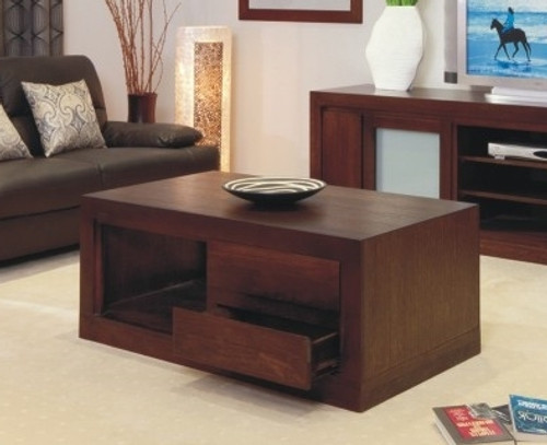 BRESSINGTON COFFEE TABLE WITH 2 DRAWERS - 500(H) X 1200(W) X 700(D) - CHOICE OF COLOURS