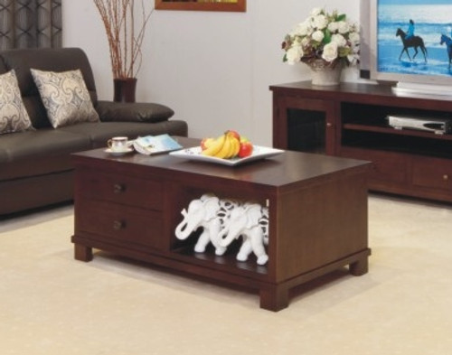 JAMES COFFEE TABLE WITH 2 DRAWERS -500(H) X 1200(W) X 700(D)- (MOUNTAIN ASH) - PALE BROWN