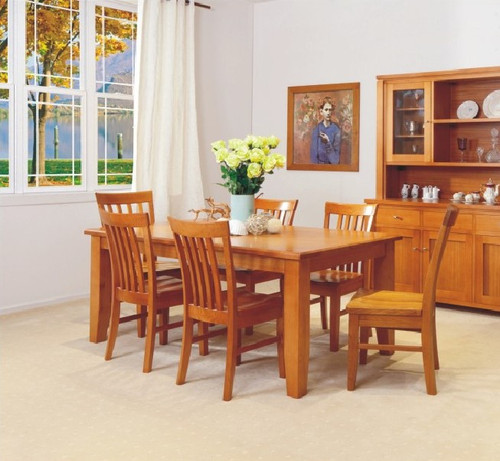 SHELDON (ML) 9 PIECE DINING SETTING WITH TAPERED LEGS WITH 8 DINING CHAIRS (NOT AS PICTURED) - TASSIE OAK - 2100(W) X 1000(D)