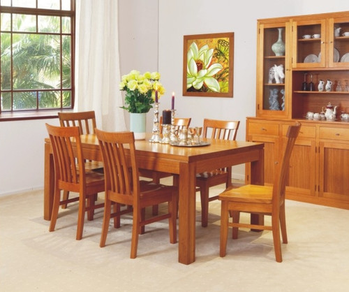JOE 7 PIECE DINING SETTING WITH GROOVE TOP - 1800(L) X 1000(W) - CHOICE OF COLOURS