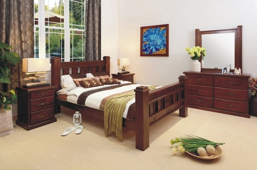RUSTIC KING 5 PIECE DRESSER BEDROOM SUITE