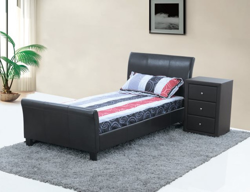 QUEEN CHANDRA (LBD032) LEATHERETTE BED - BLACK(7171)