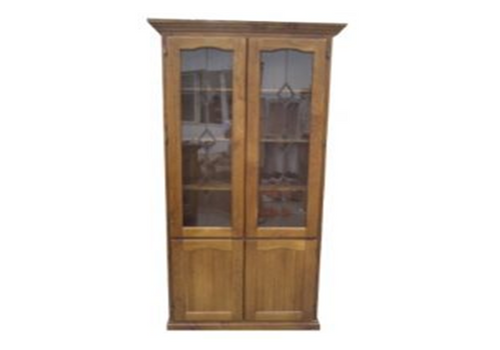 LIBRARY 4 DOOR DISPLAY CABINET WITHOUT THE LEADLIGHT (Z-7) (HAYMAN) (NOT AS PICTURED) - 2100(H) x 900(W) - BALTIC(#215) OR WALNUT(#219)