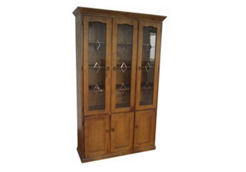 LIBRARY 6 DOOR DISPLAY CABINET (Z-14) EXCLUDING LEADLIGHT (PATTERN) DOORS - 2100(H) x 1200(W) - BALTIC(#215) OR WALNUT(#219)