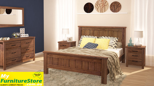 RADIUS QUEEN (VTO-001) 6 PIECE BEDROOM SUITE (MODEL 20-15-19-3-1-14-1) WITH VTO-003 TALLBOY (NOT PICTURED IN MAIN IMAGE) - NATURAL