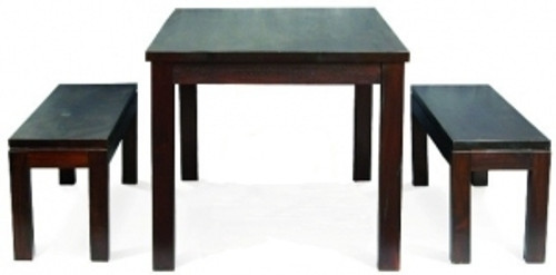 MOMBAY DINING TABLE WITH 2  X 1500 BENCHES - 1800(W) x 900(D) - CHOCOLATE