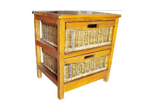 MEXICALI CANE STORAGE DRAWERS / CABINET WITH 2 DRAWERS (V-MEX-2D) (MODEL 13-5-24-9-3-1-14-1) - AMERICAN HERITAGE